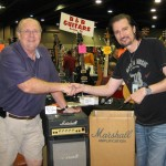 """Bruce Kulick scored a cool """"plexi"""" Marhsall Micro Lead stack that was signed by Jim Marshall."""