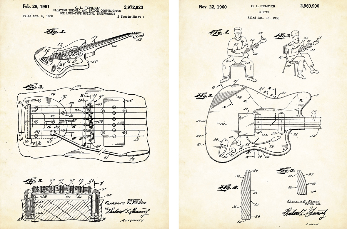 Revisiting The Jazzmaster Vintage Guitar Magazine Fender Jaguar Wiring Diagram For 1963 Patent Drawings Including Details Of Its Overall Design Shape Vibrato And A Player Seated In Different Positions